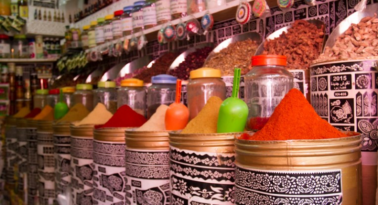 Back in the market, spice shops are piled high with an earthy array of colours and cures.