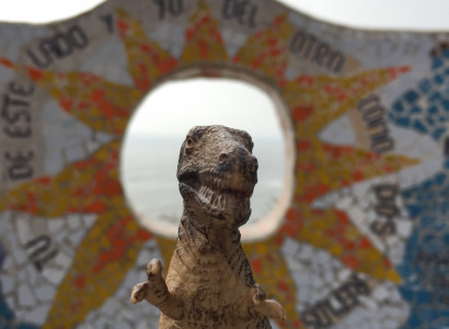 Rex poses in front of one of the numerous mosaics detailing tails of love at the Parque del Amor, the Park of Love