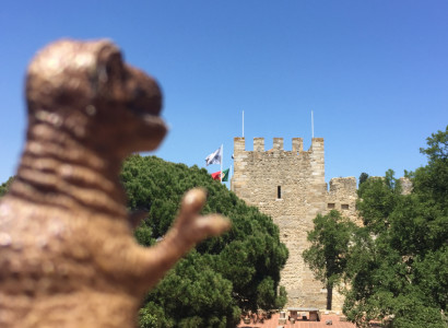 Rex enters the Castelo de São Jorge, a strongly fortified citadel from the medieval period of Portuguese history