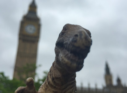 Rex smiles in front of Big Ben, the great bell of the clock at the Palace of Westminster