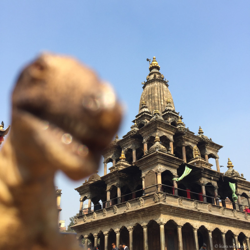 Rex stands before one of the exquisitely carved temples in Durbar Square, Kathmandu