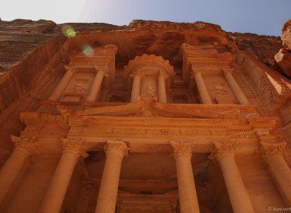 The Treasury was carved out of a sandstone rock face and has classical Greek-influenced architecture.