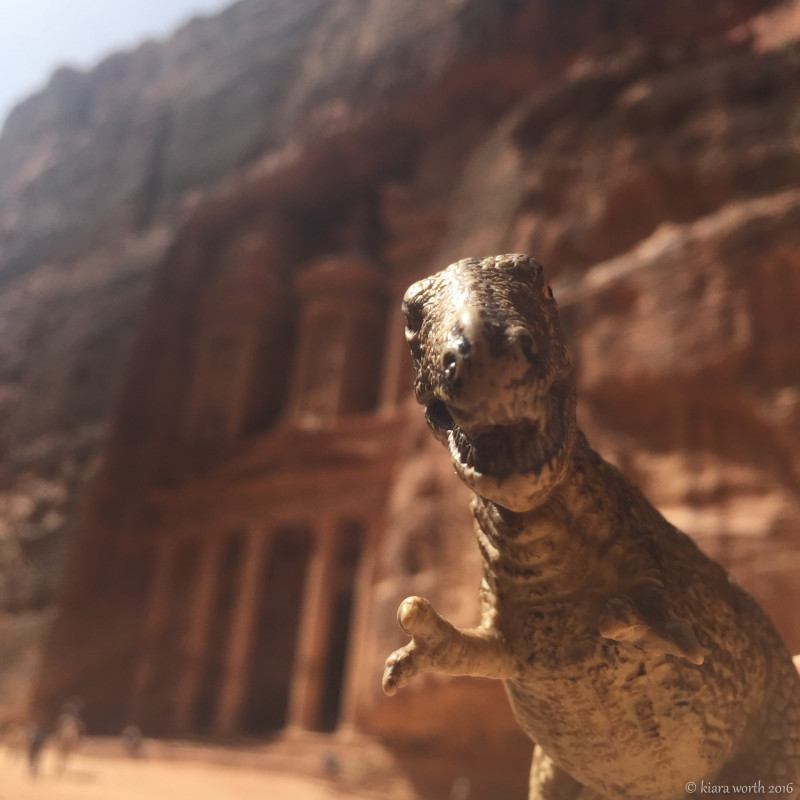 Rex poses in front of the Treasury. Known as Petra