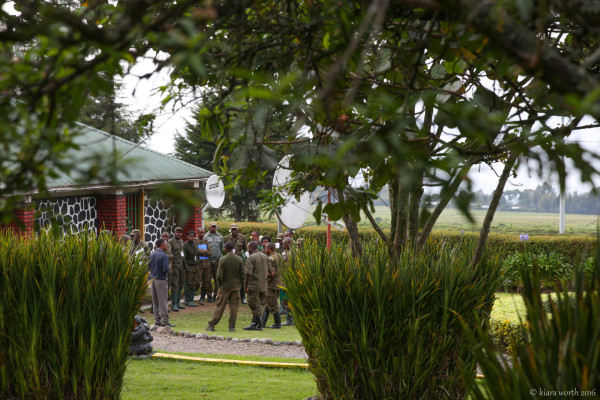 Guides from Volcanoes National Park gather at the Kigili headquarters